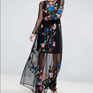 Unique Alternative Embroidered Flower Prom Dress